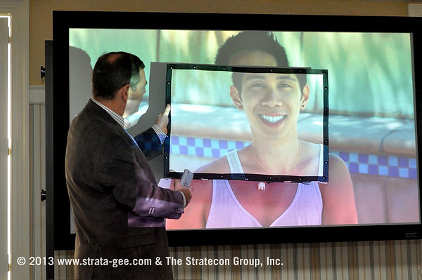 A photo of video expert Joe Kane showing different screens.