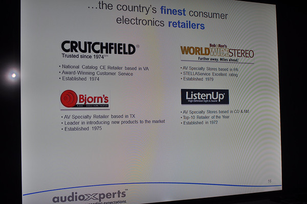 Photo of slide showing AudioXperts first dealers