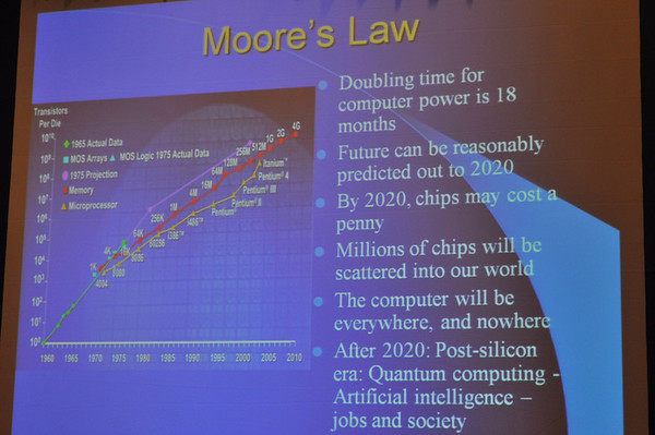 Photo of slide explaining Moore's Law