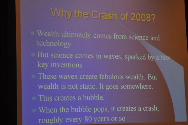 Photo showing slide explaining the crash of 2008